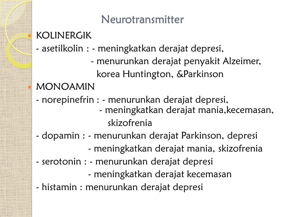 Neurotransmitter KOLINERGIK - asetilkolin : - meningkatkan derajat depresi, - menurunkan derajat penyakit Alzeimer, korea Huntington, &Parkinson MONOAMIN - norepinefrin : - menurunkan derajat depresi, - meningkatkan derajat mania,kecemasan, skizofrenia - dopamin : - menurunkan derajat Parkinson, depresi - meningkatkan derajat mania, skizofrenia - serotonin : - menurunkan derajat depresi - meningkatkan derajat kecemasan - histamin : menurunkan derajat depresi