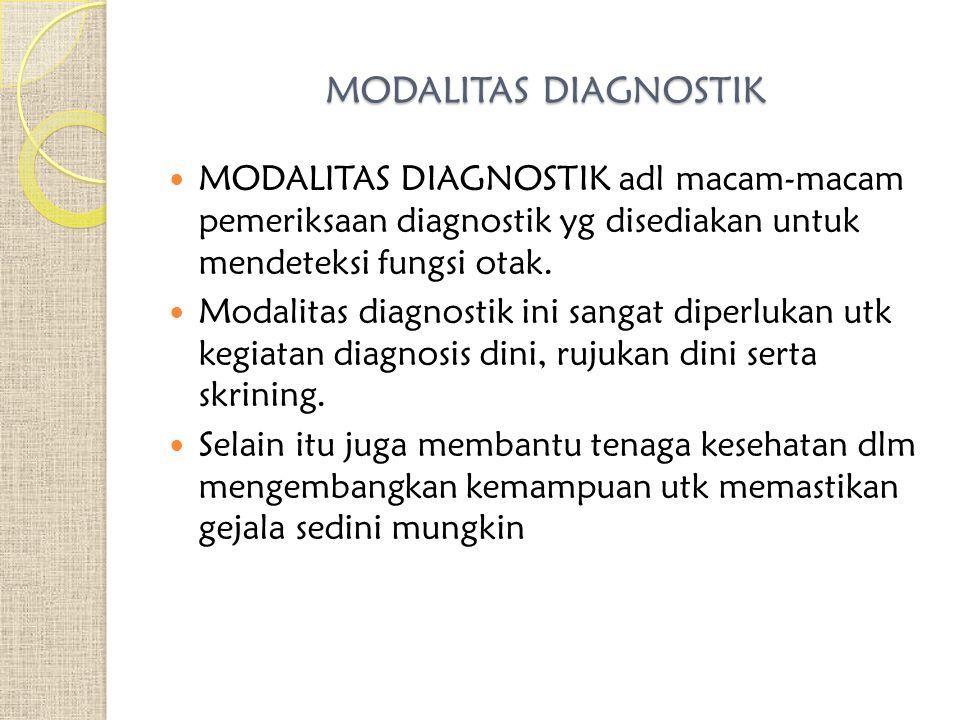 MODALITAS DIAGNOSTIK MODALITAS DIAGNOSTIK adl macam-macam pemeriksaan diagnostik yg disediakan untuk mendeteksi fungsi otak. Modalitas diagnostik ini