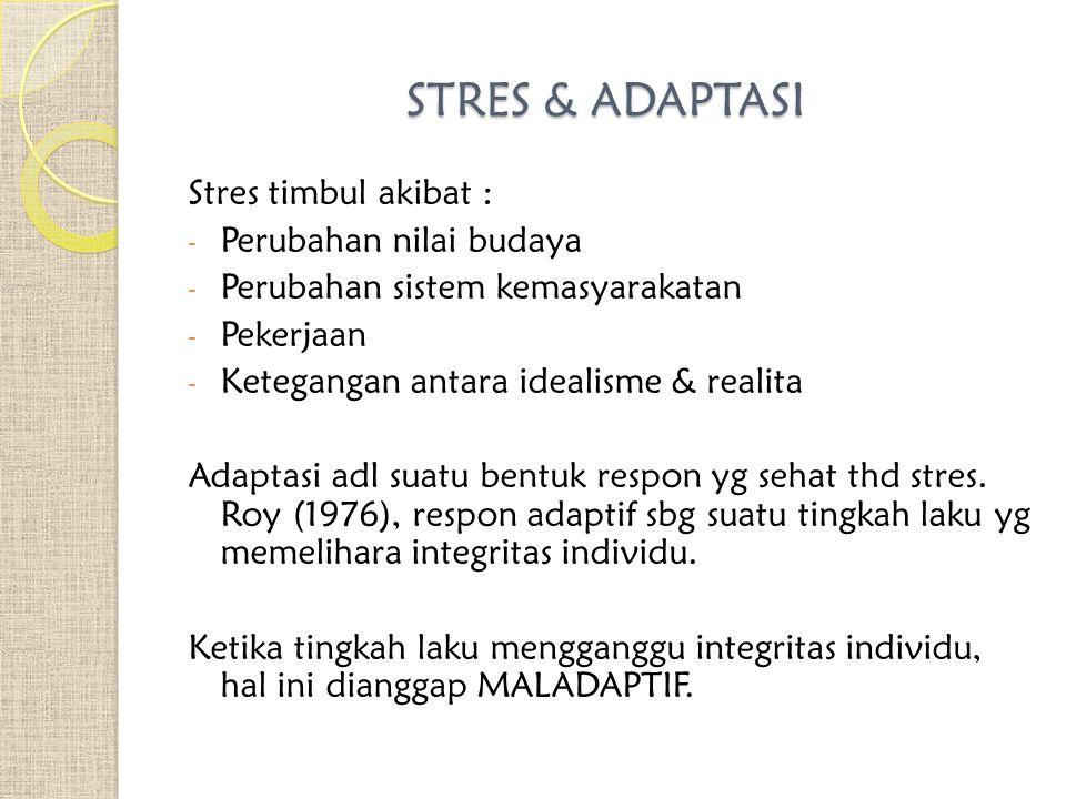 Stres timbul akibat : - Perubahan nilai budaya - Perubahan sistem kemasyarakatan - Pekerjaan - Ketegangan antara idealisme & realita Adaptasi adl suatu bentuk respon yg sehat thd stres.