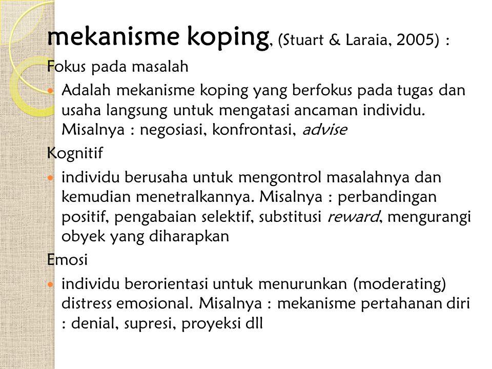 mekanisme koping, (Stuart & Laraia, 2005) : Fokus pada masalah Adalah mekanisme koping yang berfokus pada tugas dan usaha langsung untuk mengatasi anc