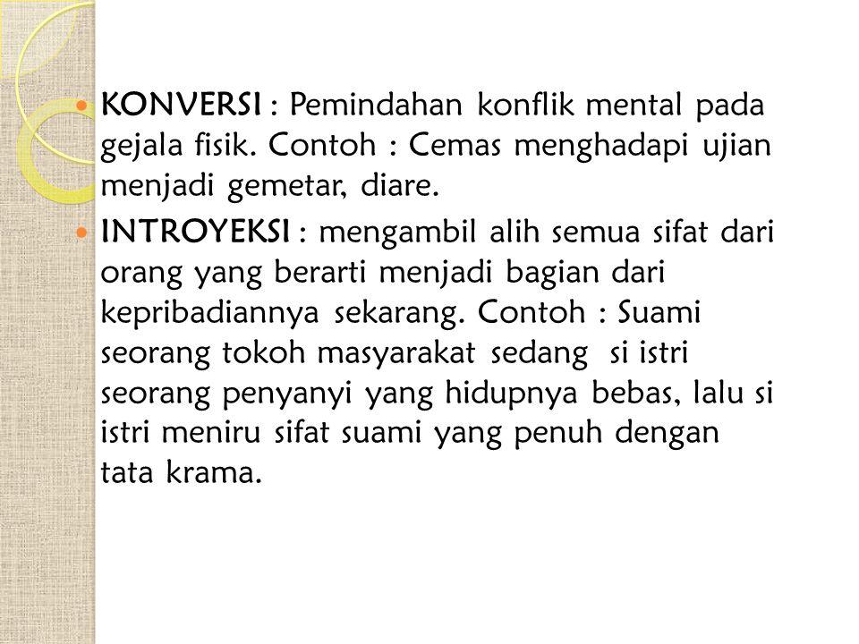 KONVERSI : Pemindahan konflik mental pada gejala fisik.