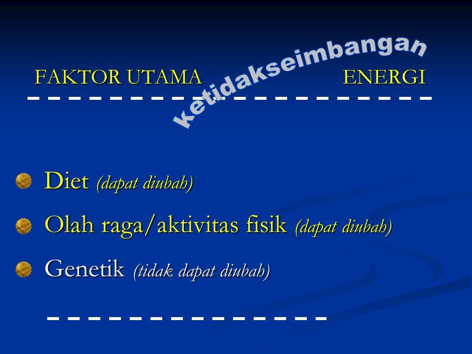 FAKTOR UTAMA ENERGI Diet (dapat diubah) Olah raga/aktivitas fisik (dapat diubah) Genetik (tidak dapat diubah)