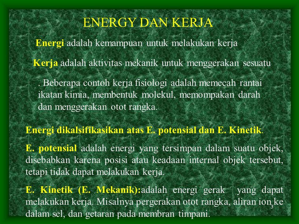 3 ENERGY DAN KERJA Energi adalah kemampuan untuk melakukan kerja Kerja adalah aktivitas mekanik untuk menggerakan sesuatu.