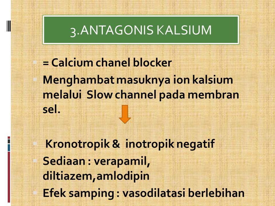  = Calcium chanel blocker  Menghambat masuknya ion kalsium melalui Slow channel pada membran sel.