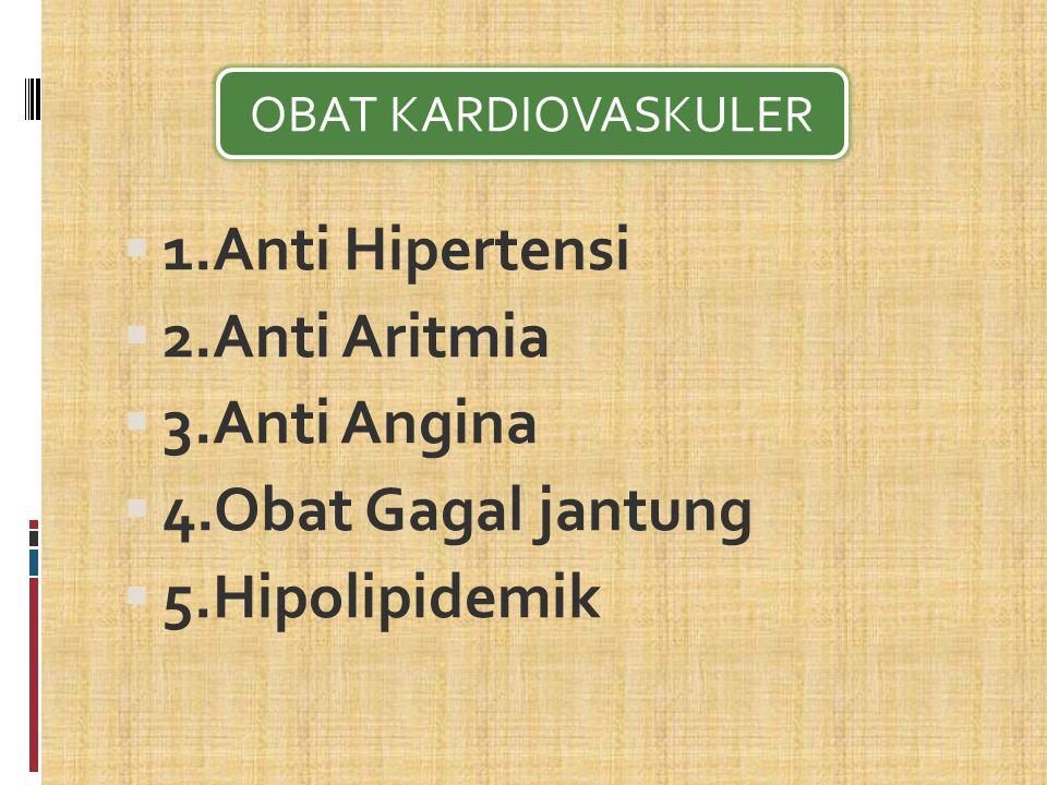  1.Anti Hipertensi  2.Anti Aritmia  3.Anti Angina  4.Obat Gagal jantung  5.Hipolipidemik OBAT KARDIOVASKULER