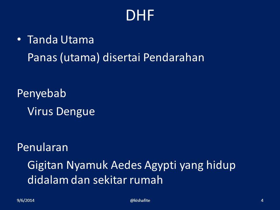 DHF Tanda Utama Panas (utama) disertai Pendarahan Penyebab Virus Dengue Penularan Gigitan Nyamuk Aedes Agypti yang hidup didalam dan sekitar rumah 9/6