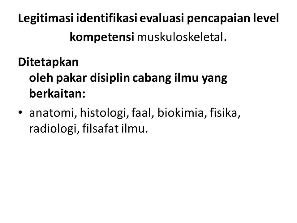 Legitimasi identifikasi evaluasi pencapaian level kompetensi muskuloskeletal. Ditetapkan oleh pakar disiplin cabang ilmu yang berkaitan: anatomi, hist