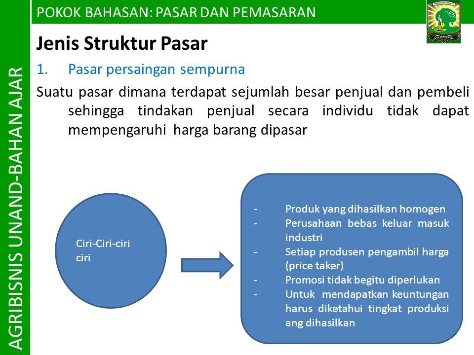 POKOK BAHASAN P ASAR DAN PEMASARAN AGRIBISNIS UNAND-BAHAN AJAR 3.
