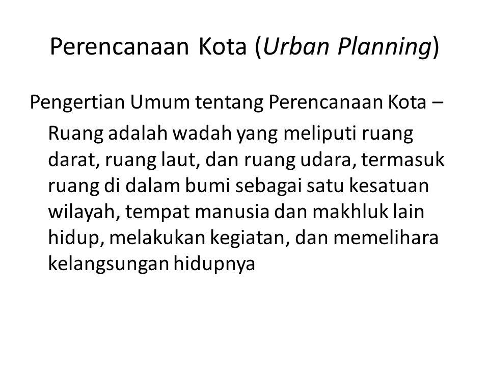 Perencanaan Kota (Urban Planning) Pengertian Umum tentang Perencanaan Kota – Ruang adalah wadah yang meliputi ruang darat, ruang laut, dan ruang udara