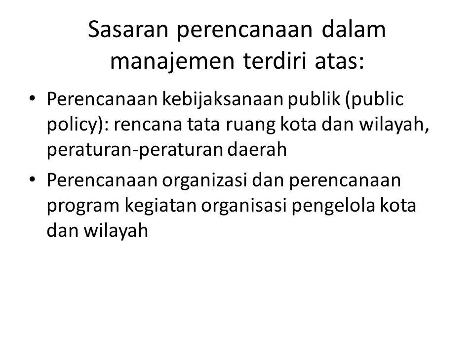 Sasaran perencanaan dalam manajemen terdiri atas: Perencanaan kebijaksanaan publik (public policy): rencana tata ruang kota dan wilayah, peraturan-per
