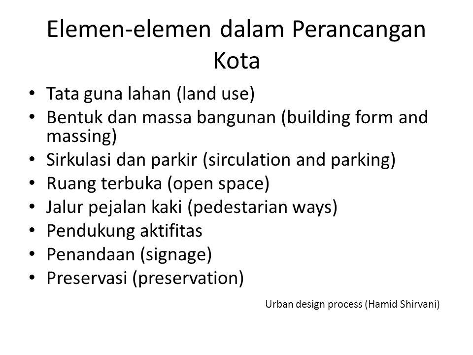 Elemen-elemen dalam Perancangan Kota Tata guna lahan (land use) Bentuk dan massa bangunan (building form and massing) Sirkulasi dan parkir (sirculatio