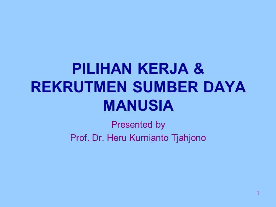1 PILIHAN KERJA & REKRUTMEN SUMBER DAYA MANUSIA Presented by Prof. Dr. Heru Kurnianto Tjahjono