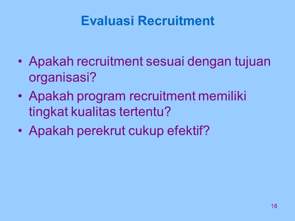 16 Evaluasi Recruitment Apakah recruitment sesuai dengan tujuan organisasi.
