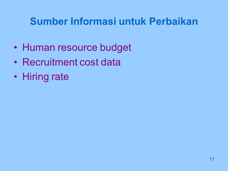 17 Sumber Informasi untuk Perbaikan Human resource budget Recruitment cost data Hiring rate