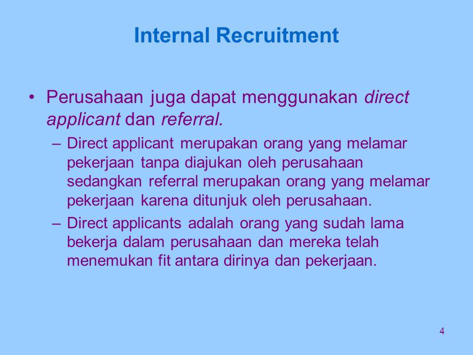 4 Internal Recruitment Perusahaan juga dapat menggunakan direct applicant dan referral.