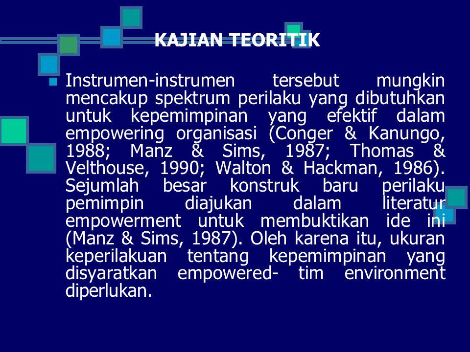 KAJIAN TEORITIKAL Konstruksi terhadap instrumen dapat dilakukan dengan tiga pendekatan, yaitu: (1) menggunakan teori empowerment yang sudah ada untuk memperoleh konstruk-konstruk perilaku pemimpin; (2) pengembangan skala baru dengan menggunakan konstruk-konstruk kepemimpinan dan perilaku-perilaku diidentifikasi para peneliti empowerment; pendekatan alternatif atau yang ketiga adalah memperoleh instrumen melalui induktif atau bottom up, investigasi perilaku kepemimpinan dalam empowered - lingkungan-lingkungan tim.