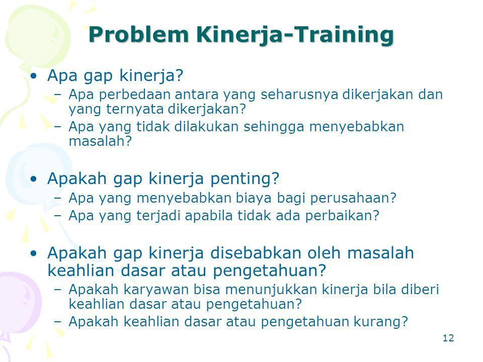 12 Problem Kinerja-Training Apa gap kinerja? –Apa perbedaan antara yang seharusnya dikerjakan dan yang ternyata dikerjakan? –Apa yang tidak dilakukan