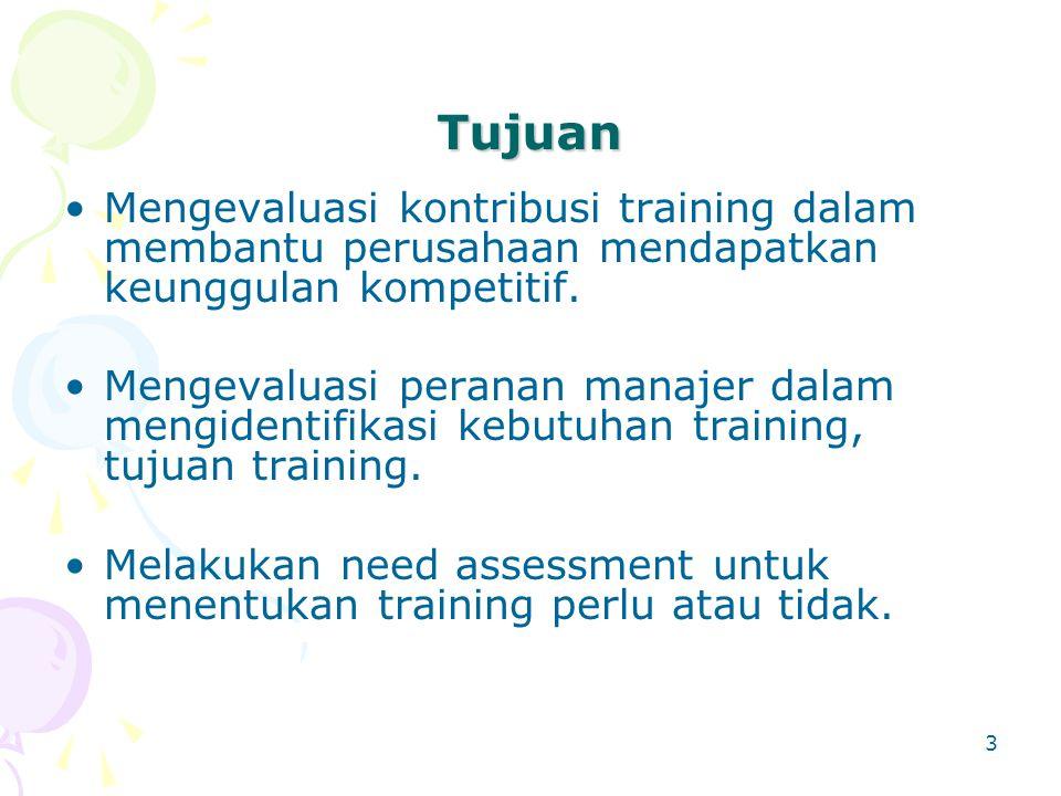 3 Tujuan Mengevaluasi kontribusi training dalam membantu perusahaan mendapatkan keunggulan kompetitif. Mengevaluasi peranan manajer dalam mengidentifi