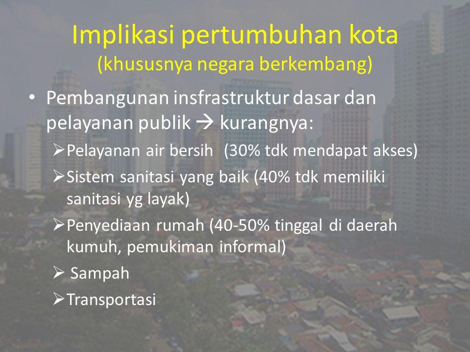 Implikasi pertumbuhan kota (khususnya negara berkembang) Pembangunan insfrastruktur dasar dan pelayanan publik  kurangnya:  Pelayanan air bersih (30