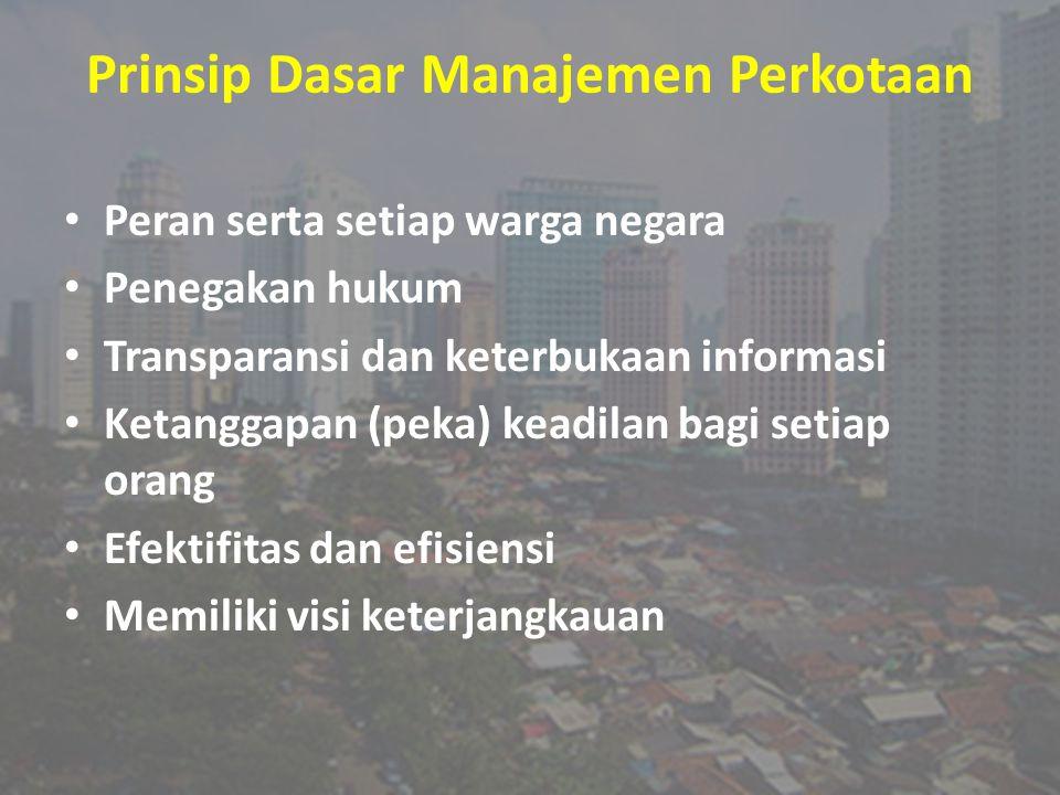 Prinsip Dasar Manajemen Perkotaan Peran serta setiap warga negara Penegakan hukum Transparansi dan keterbukaan informasi Ketanggapan (peka) keadilan b