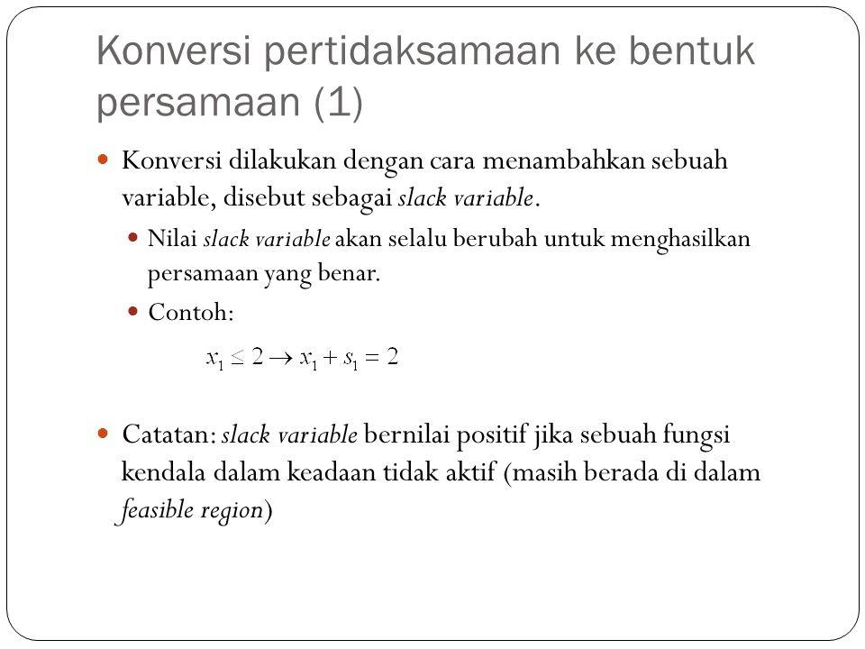 Konversi pertidaksamaan ke bentuk persamaan (1) Konversi dilakukan dengan cara menambahkan sebuah variable, disebut sebagai slack variable.
