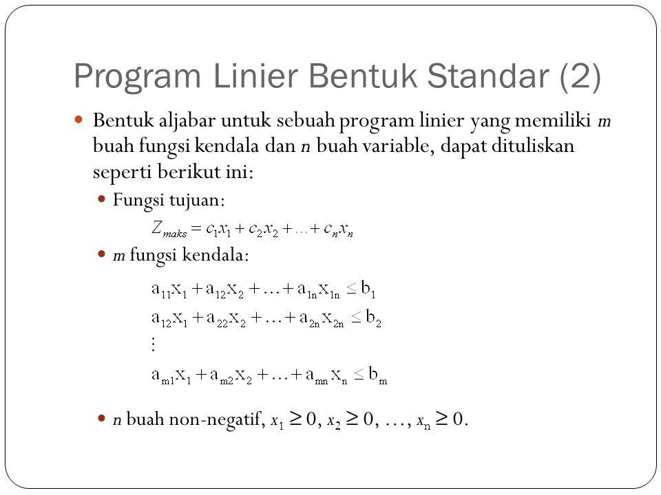 Program Linier Bentuk Standar (2) Bentuk aljabar untuk sebuah program linier yang memiliki m buah fungsi kendala dan n buah variable, dapat dituliskan seperti berikut ini: Fungsi tujuan: m fungsi kendala: n buah non-negatif, x 1 ≥ 0, x 2 ≥ 0, …, x n ≥ 0.
