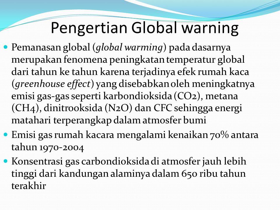 Pengertian Global warning Pemanasan global (global warming) pada dasarnya merupakan fenomena peningkatan temperatur global dari tahun ke tahun karena terjadinya efek rumah kaca (greenhouse effect) yang disebabkan oleh meningkatnya emisi gas-gas seperti karbondioksida (CO2), metana (CH4), dinitrooksida (N2O) dan CFC sehingga energi matahari terperangkap dalam atmosfer bumi Emisi gas rumah kacara mengalami kenaikan 70% antara tahun 1970-2004 Konsentrasi gas carbondioksida di atmosfer jauh lebih tinggi dari kandungan alaminya dalam 650 ribu tahun terakhir