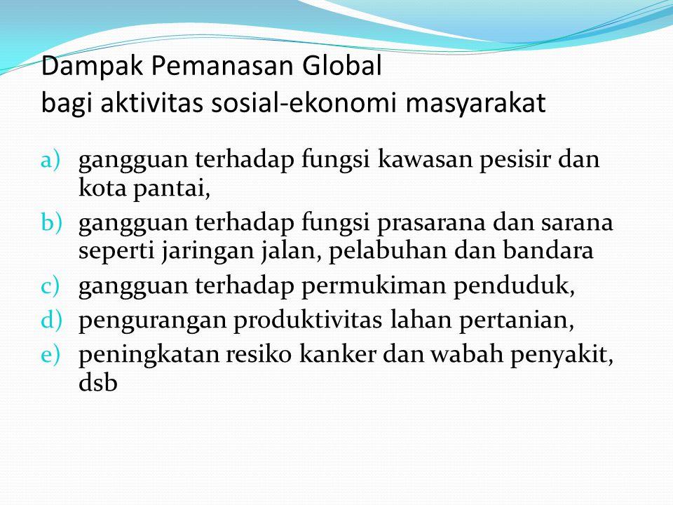 Dampak Pemanasan Global bagi aktivitas sosial-ekonomi masyarakat a) gangguan terhadap fungsi kawasan pesisir dan kota pantai, b) gangguan terhadap fun