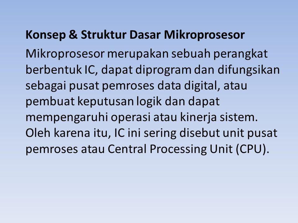Konsep & Struktur Dasar Mikroprosesor Mikroprosesor merupakan sebuah perangkat berbentuk IC, dapat diprogram dan difungsikan sebagai pusat pemroses da