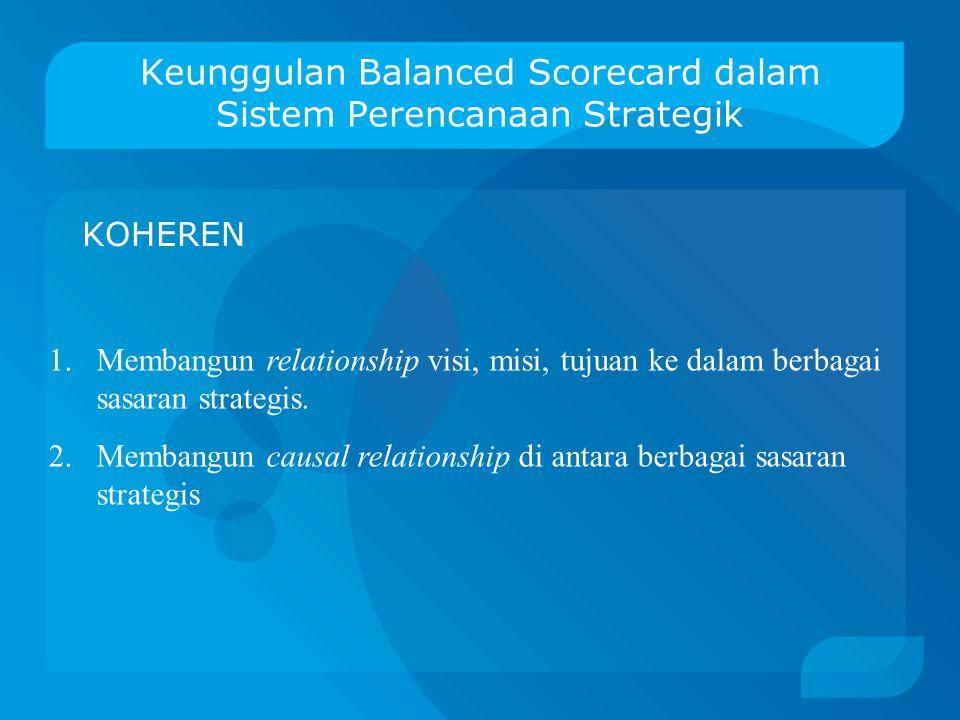 Keunggulan Balanced Scorecard dalam Sistem Perencanaan Strategik KOMPREHENSIF Memberikan informasi manajerial secara komprehensif