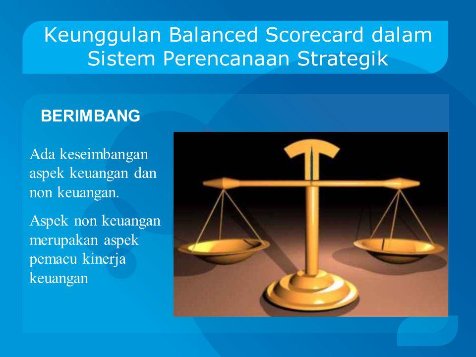 Keunggulan Balanced Scorecard dalam Sistem Perencanaan Strategik KOHEREN 1.Membangun relationship visi, misi, tujuan ke dalam berbagai sasaran strateg