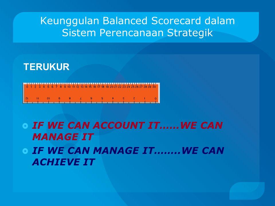 Keunggulan Balanced Scorecard dalam Sistem Perencanaan Strategik BERIMBANG Ada keseimbangan aspek keuangan dan non keuangan. Aspek non keuangan merupa