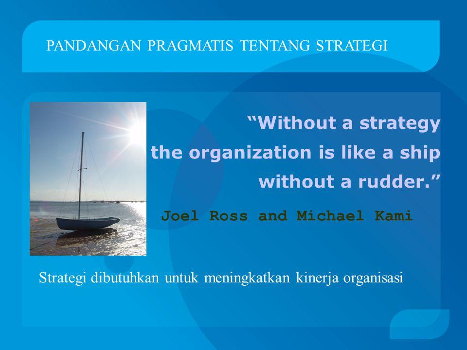 Without a strategy the organization is like a ship without a rudder. Joel Ross and Michael Kami PANDANGAN PRAGMATIS TENTANG STRATEGI Strategi dibutuhkan untuk meningkatkan kinerja organisasi
