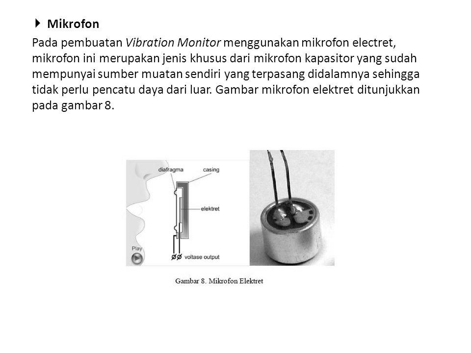  Mikrofon Pada pembuatan Vibration Monitor menggunakan mikrofon electret, mikrofon ini merupakan jenis khusus dari mikrofon kapasitor yang sudah memp