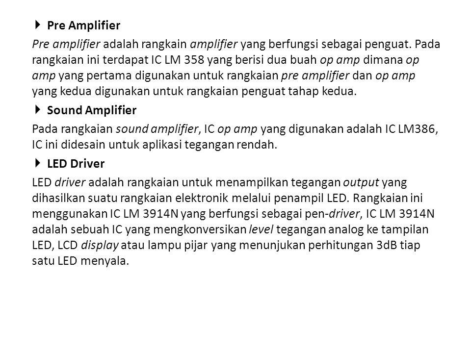  Pre Amplifier Pre amplifier adalah rangkain amplifier yang berfungsi sebagai penguat. Pada rangkaian ini terdapat IC LM 358 yang berisi dua buah op