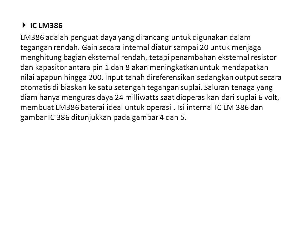  IC LM386 LM386 adalah penguat daya yang dirancang untuk digunakan dalam tegangan rendah. Gain secara internal diatur sampai 20 untuk menjaga menghit