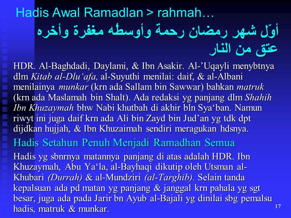17 Hadis Awal Ramadlan > rahmah… أوّل شهرِ رمضان رحمة وأوسطُه مغفرة وأخره عتق من النار HDR. Al-Baghdadi, Daylami, & Ibn Asakir. Al-'Uqayli menybtnya d