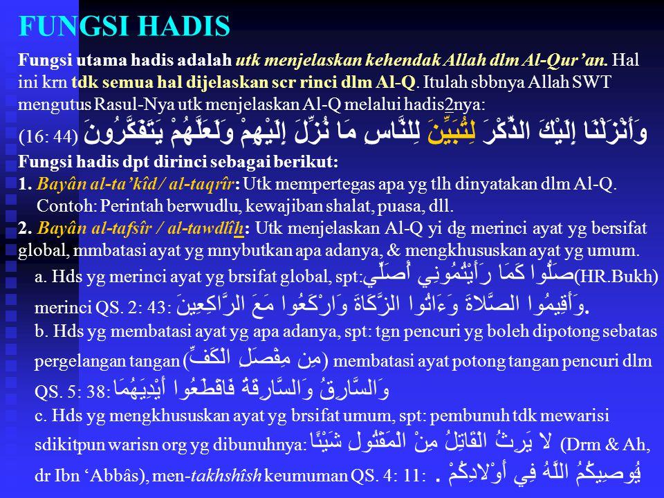 4 FUNGSI HADIS Fungsi utama hadis adalah utk menjelaskan kehendak Allah dlm Al-Qur'an. Hal ini krn tdk semua hal dijelaskan scr rinci dlm Al-Q. Itulah