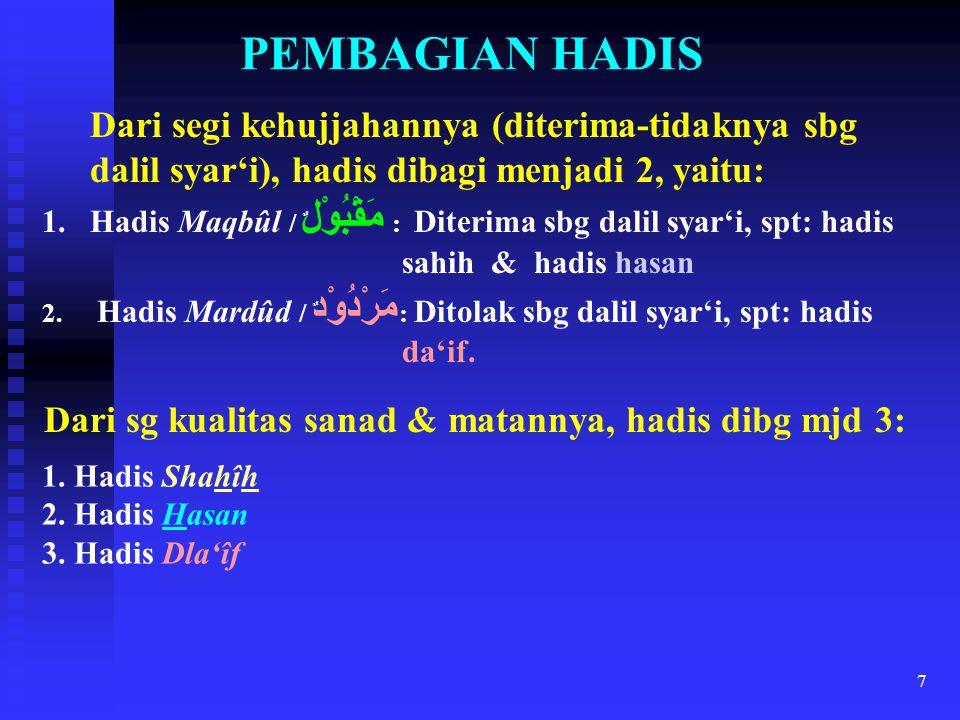 7 PEMBAGIAN HADIS Dari segi kehujjahannya (diterima-tidaknya sbg dalil syar'i), hadis dibagi menjadi 2, yaitu: 1.Hadis Maqbûl / مَقْبُوْل ٌ : Diterima