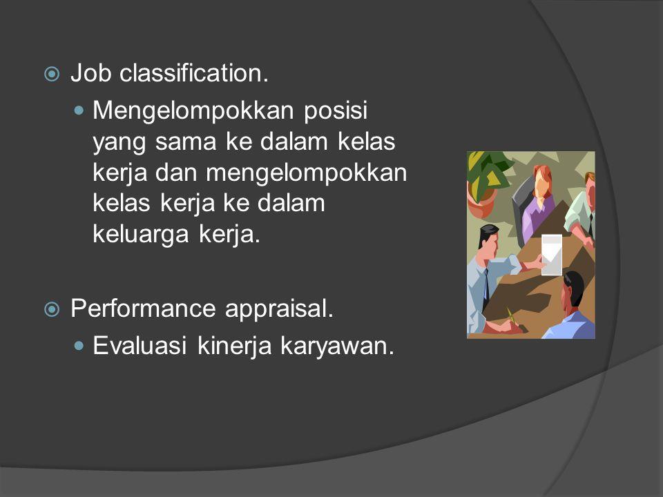  Job classification. Mengelompokkan posisi yang sama ke dalam kelas kerja dan mengelompokkan kelas kerja ke dalam keluarga kerja.  Performance appra
