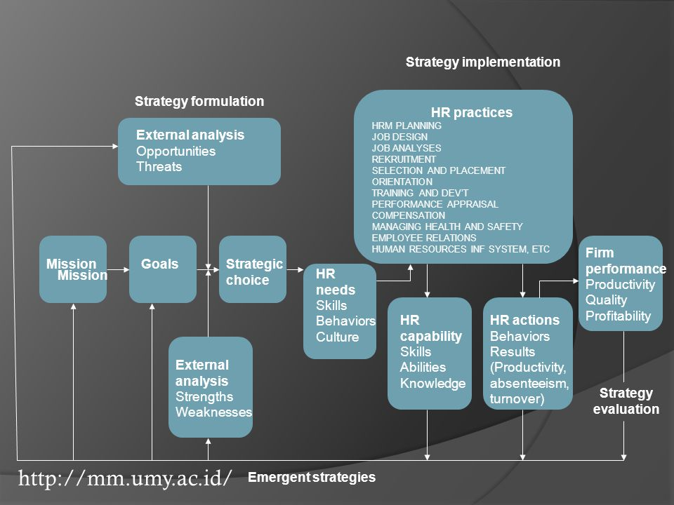 http://mm.umy.ac.id/ Strategy formulation Strategy implementation External analysis Opportunities Threats Mission GoalsStrategic choice HR needs Skill