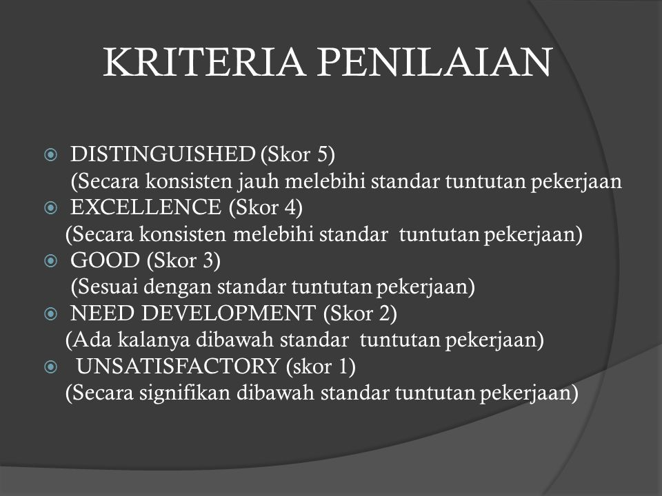 KRITERIA PENILAIAN  DISTINGUISHED (Skor 5) (Secara konsisten jauh melebihi standar tuntutan pekerjaan  EXCELLENCE (Skor 4) (Secara konsisten melebih