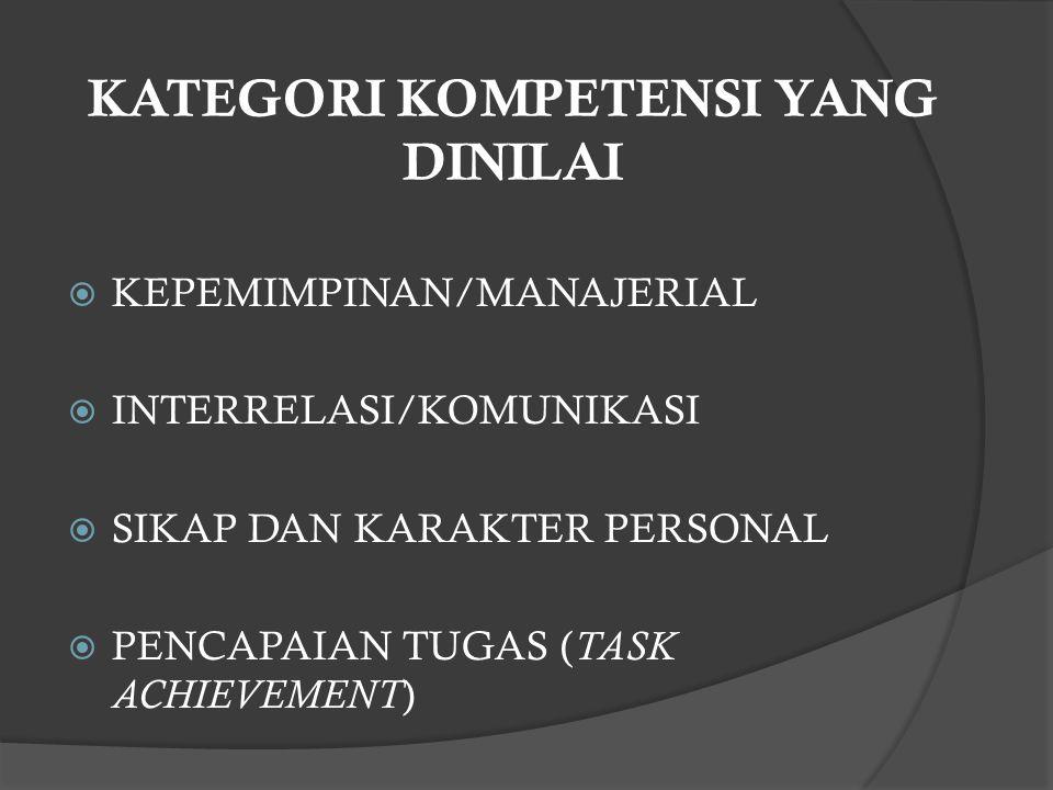KATEGORI KOMPETENSI YANG DINILAI  KEPEMIMPINAN/MANAJERIAL  INTERRELASI/KOMUNIKASI  SIKAP DAN KARAKTER PERSONAL  PENCAPAIAN TUGAS ( TASK ACHIEVEMEN