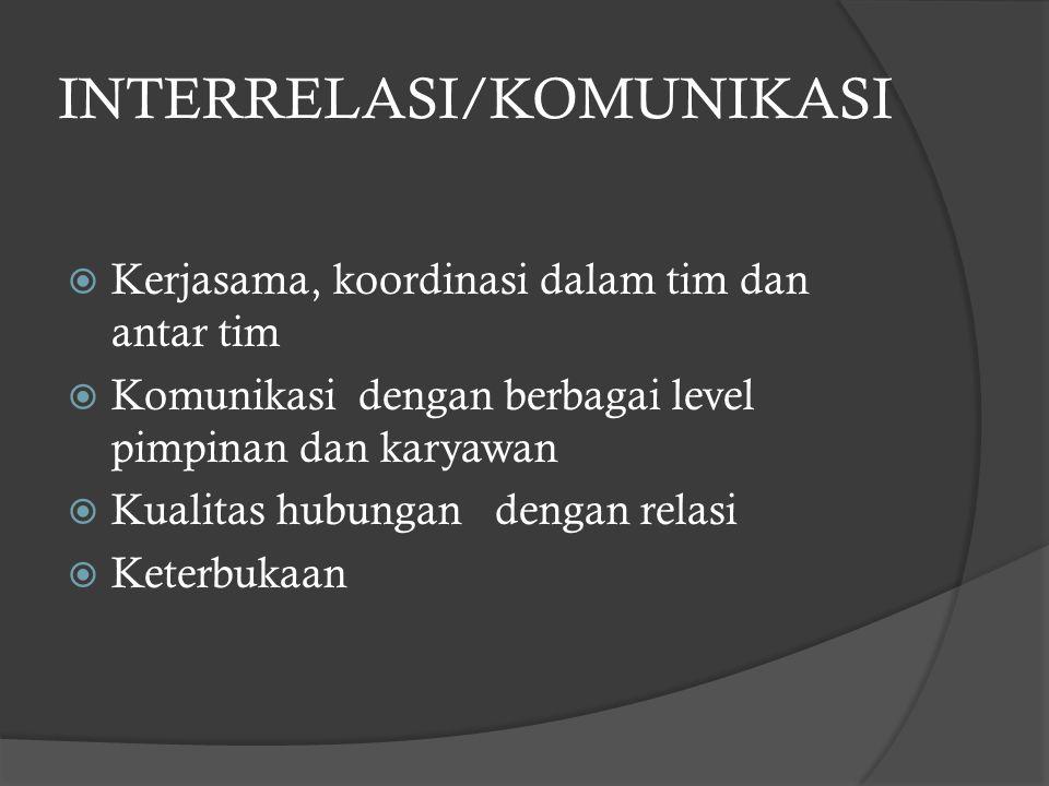 INTERRELASI/KOMUNIKASI  Kerjasama, koordinasi dalam tim dan antar tim  Komunikasi dengan berbagai level pimpinan dan karyawan  Kualitas hubungan de