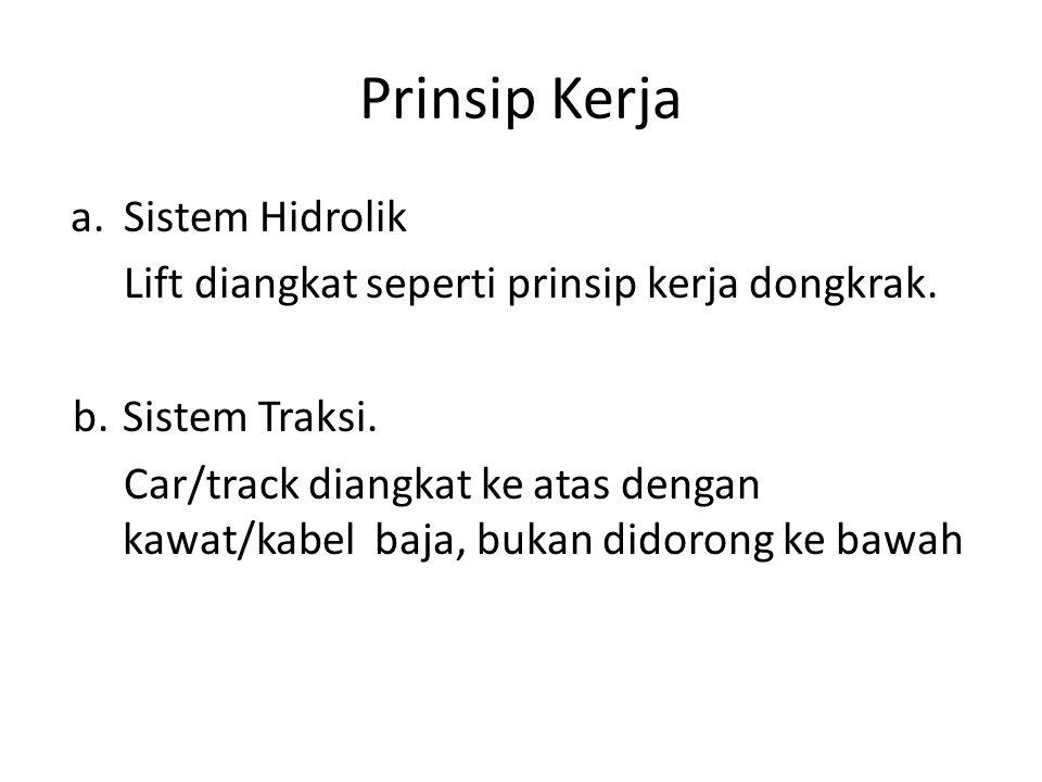 Prinsip Kerja a.Sistem Hidrolik Lift diangkat seperti prinsip kerja dongkrak. b.Sistem Traksi. Car/track diangkat ke atas dengan kawat/kabel baja, buk