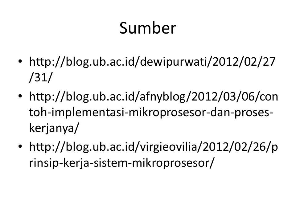 Sumber http://blog.ub.ac.id/dewipurwati/2012/02/27 /31/ http://blog.ub.ac.id/afnyblog/2012/03/06/con toh-implementasi-mikroprosesor-dan-proses- kerjan