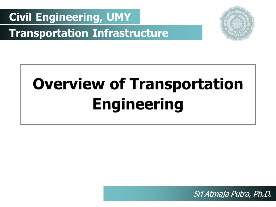 Civil Engineering, UMY Transportation Infrastructure Sri Atmaja Putra, Ph.D.