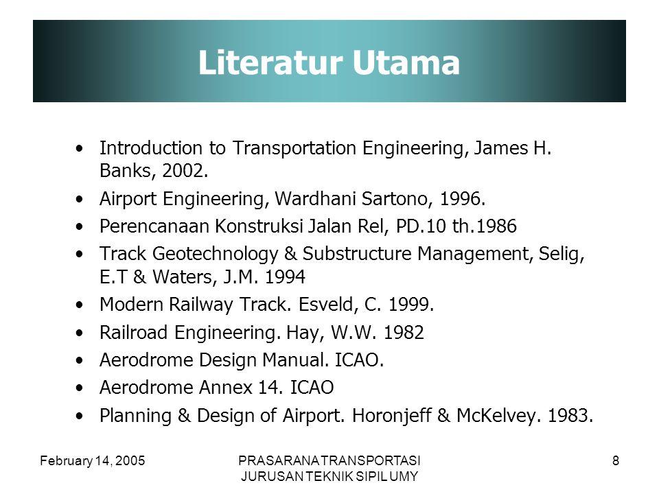 February 14, 2005PRASARANA TRANSPORTASI JURUSAN TEKNIK SIPIL UMY 8 Literatur Utama Introduction to Transportation Engineering, James H. Banks, 2002. A
