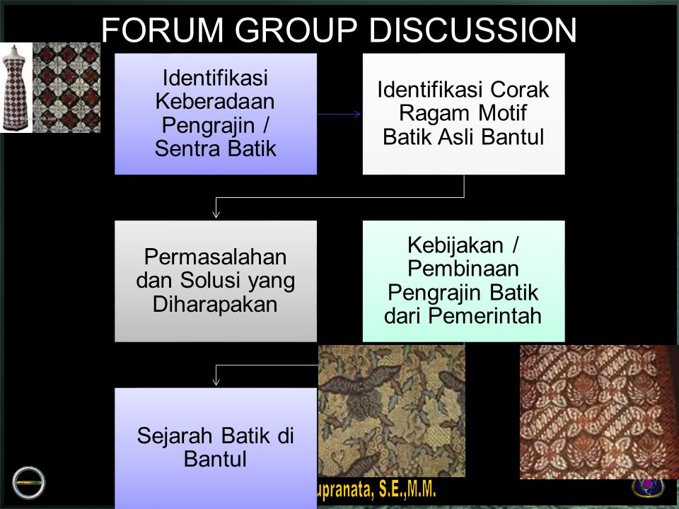 Identifikasi Keberadaan Pengrajin / Sentra Batik Identifikasi Corak Ragam Motif Batik Asli Bantul Permasalahan dan Solusi yang Diharapakan Kebijakan / Pembinaan Pengrajin Batik dari Pemerintah Sejarah Batik di Bantul FORUM GROUP DISCUSSION