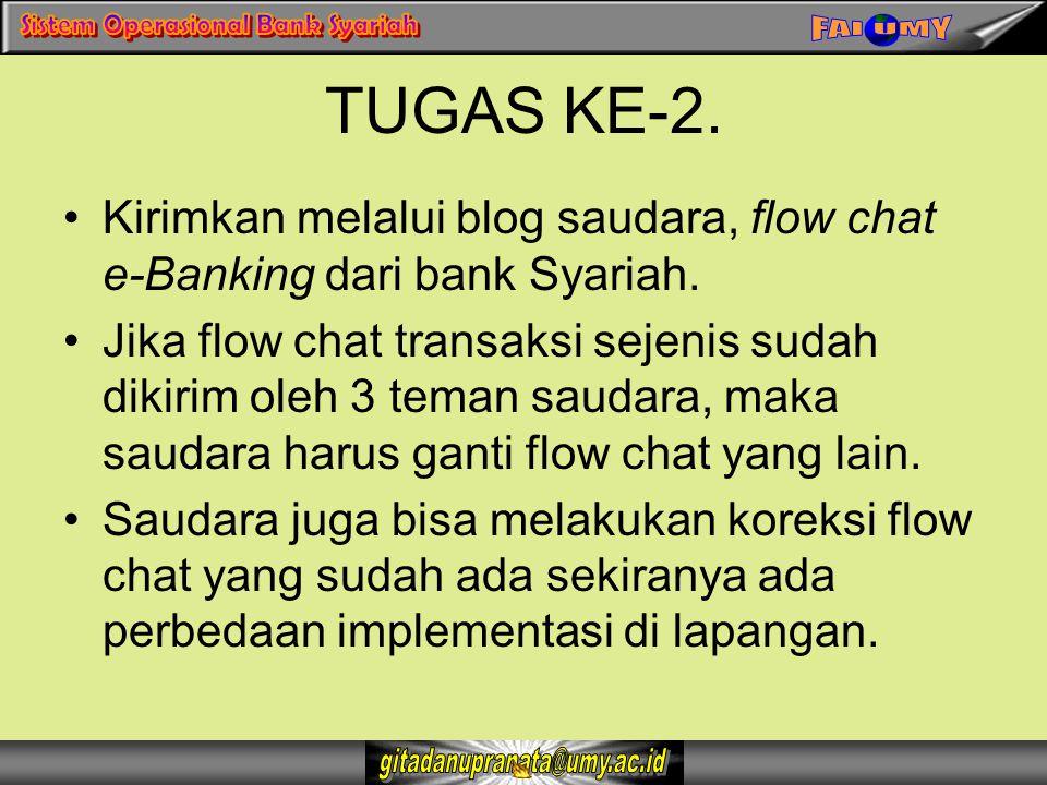 TUGAS KE-2. Kirimkan melalui blog saudara, flow chat e-Banking dari bank Syariah. Jika flow chat transaksi sejenis sudah dikirim oleh 3 teman saudara,